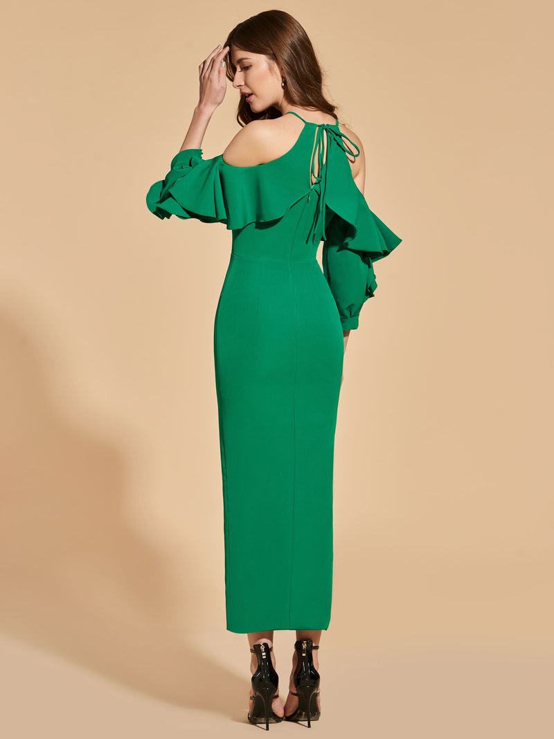 Long Sleeves Ruffles Tea-Length Sheath/Column Cocktail Dress