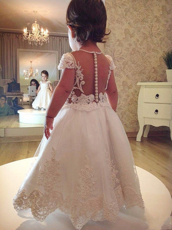 Floor-Length Appliques Cap Sleeves A-Line Flower Girl Dress