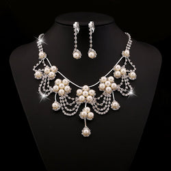Vintage Earrings Pearl Inlaid Wedding Jewelry Sets