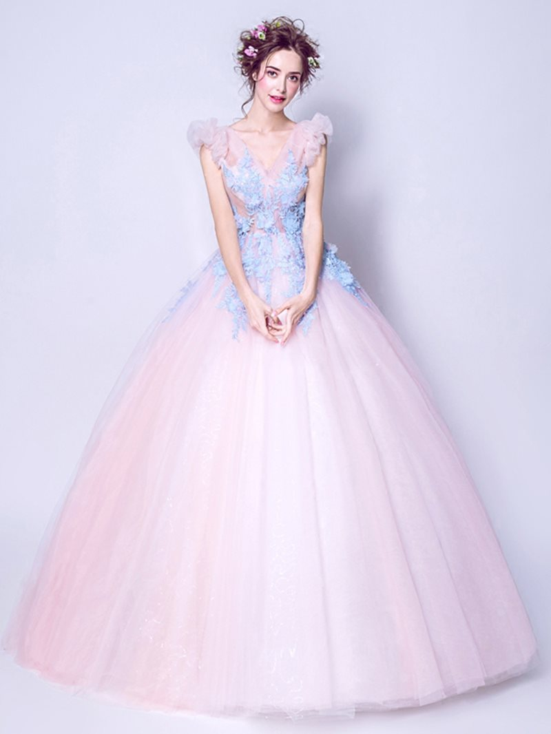 V-Neck Cap Sleeves Floor-Length Ball Gown Quinceanera Dress