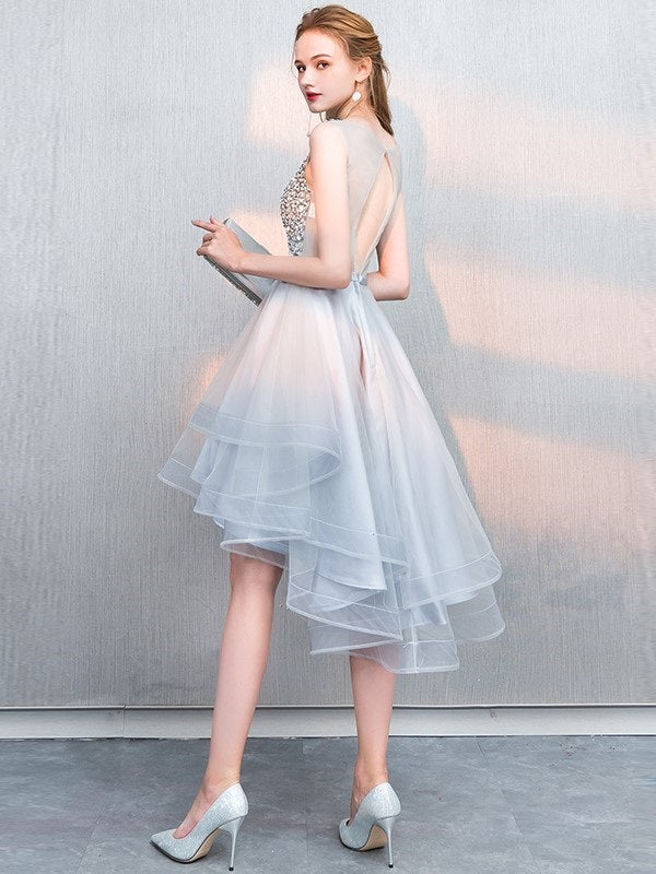 Asymmetry Sleeveless A-Line Sashes/Ribbons Cocktail Dress