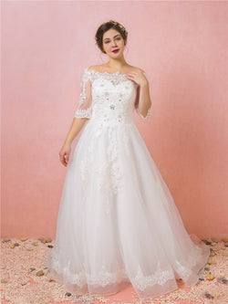A-Line Beading Floor-Length Off-The-Shoulder Wedding Party Dress