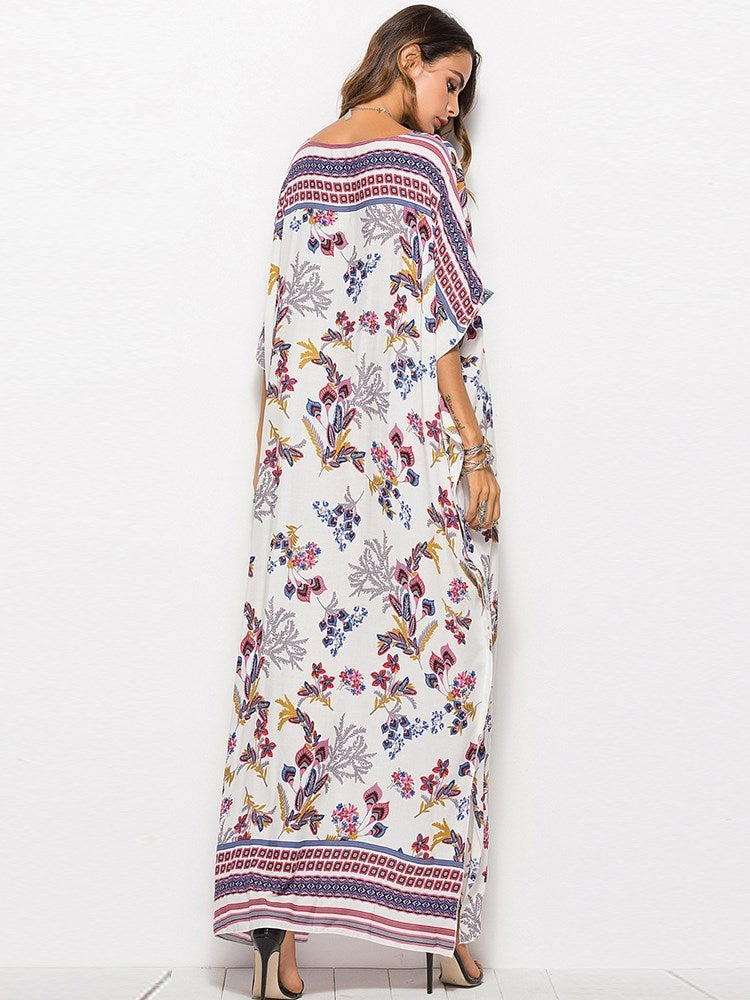 Half Sleeve V-Neck Ankle-Length Bohemian Summer Dress