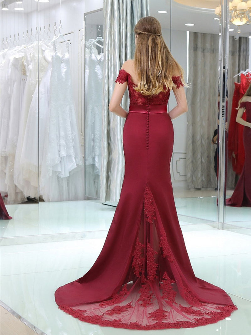 Sweep/Brush Trumpet/Mermaid Off-The-Shoulder Floor-Length Wedding Party Dress