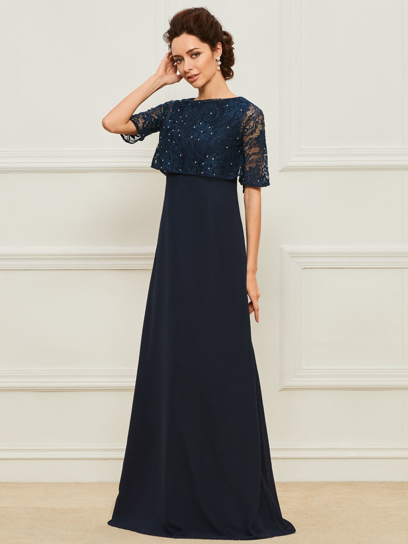 Scoop A-Line Floor-Length Lace Celebrity Dress