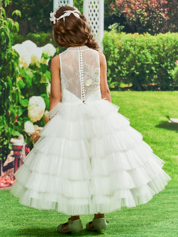 Beading Winter Sleeveless Ball Gown Flower Girl Dress