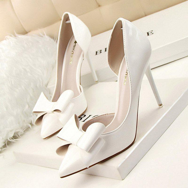 Stiletto Heel Slip-On Pointed Toe Bow Banquet Ultra-High Heel Thin Shoes