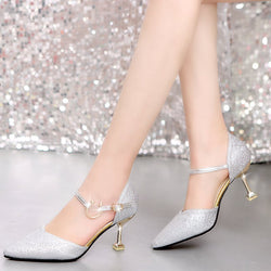 Line-Style Buckle Spool Heel Pointed Toe 7.5cm Plain Thin Shoes