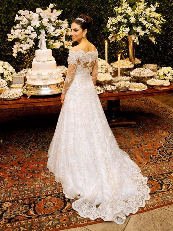 Floor-Length A-Line Court Long Sleeves Church Wedding Dress