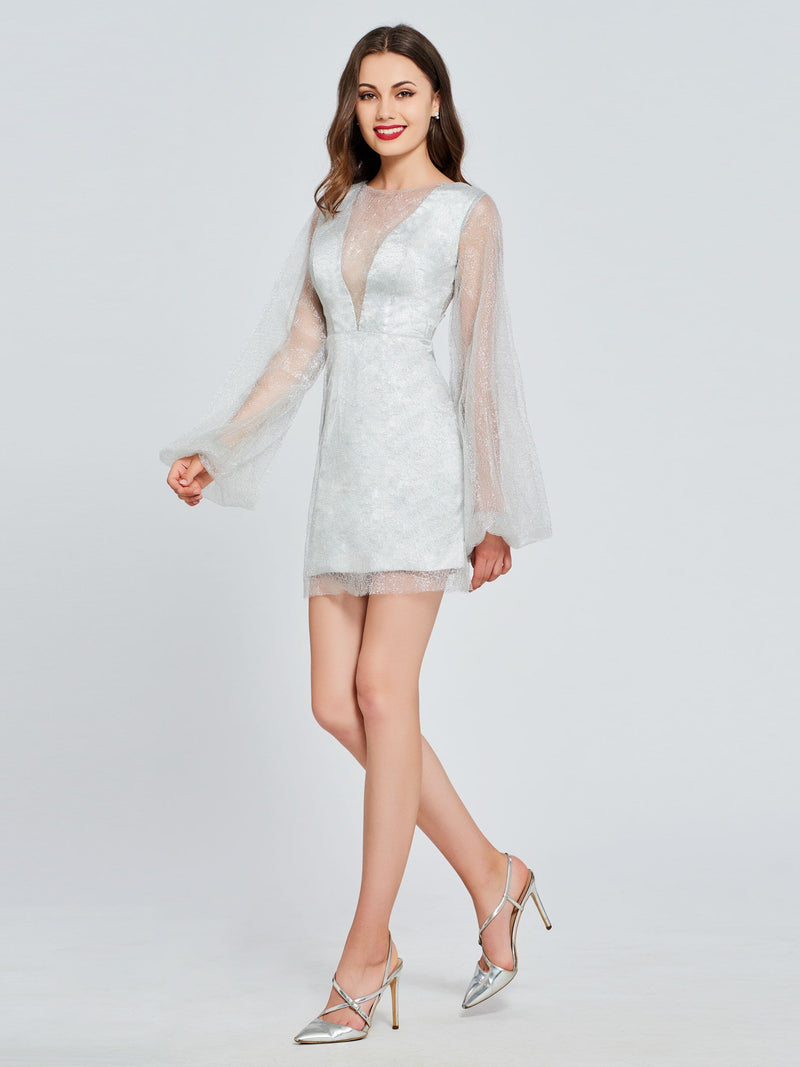 Short/Mini Long Sleeves Button Sheath/Column Evening Dress