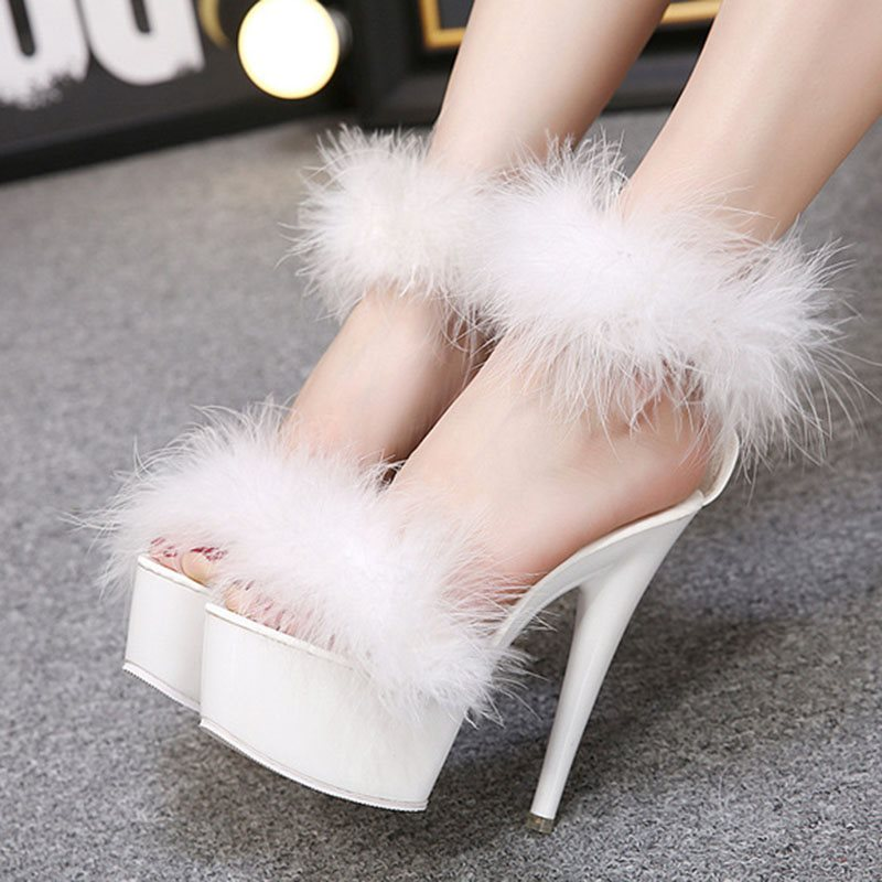 Line-Style Buckle Ankle Strap Open Toe Stiletto Heel Plain Platform Sandals