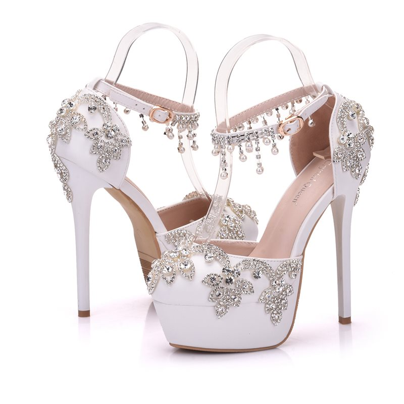 Round Toe Line-Style Buckle Rhinestone Stiletto Heel Low-Cut Upper 14cm Thin Shoes