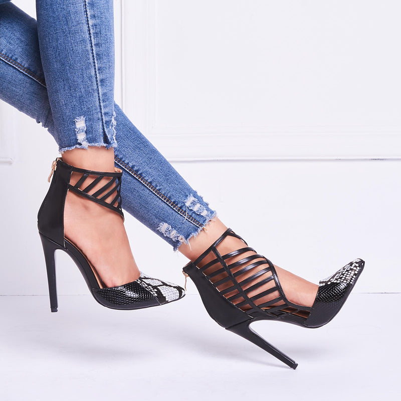 Pointed Toe Hollow Stiletto Heel Zipper Low-Cut Upper Western Thin Shoes