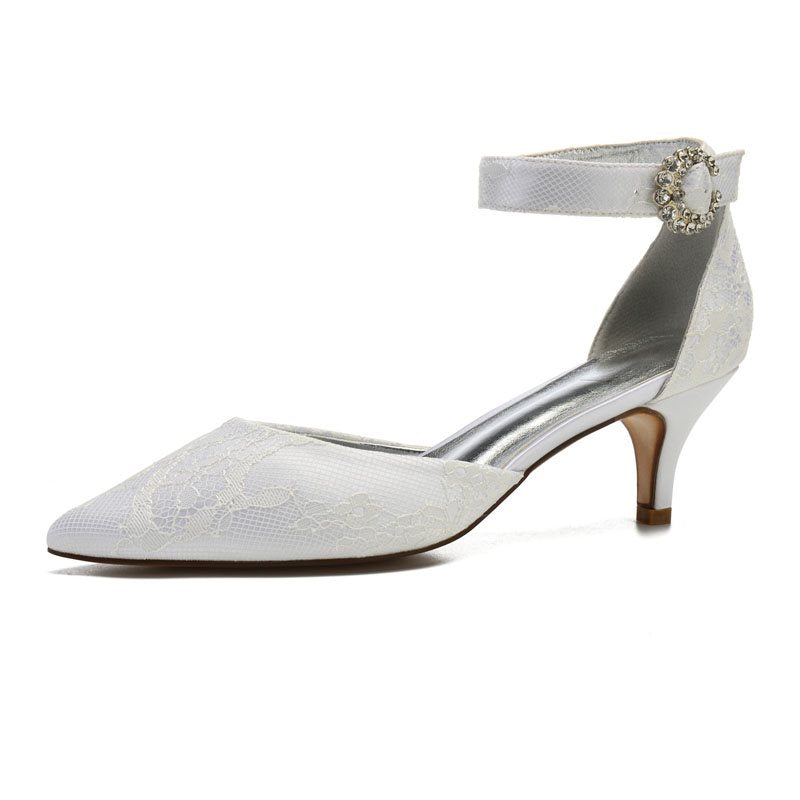 Stiletto Heel Pointed Toe Line-Style Buckle Plain 6cm Thin Shoes