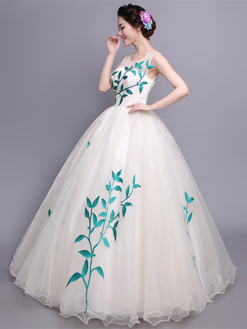 Ball Gown Scoop Floor-Length Sleeveless Quinceanera Dress
