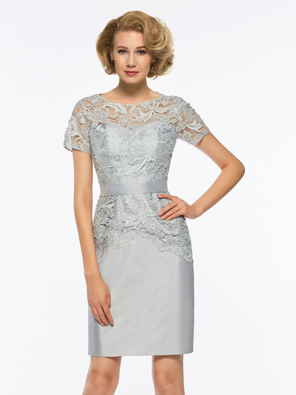 Lace Short Sleeves Sheath/Column Scoop Wedding Party Dress