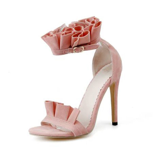 Stiletto Heel Line-Style Buckle Open Toe Heel Covering Casual Plain Sandals