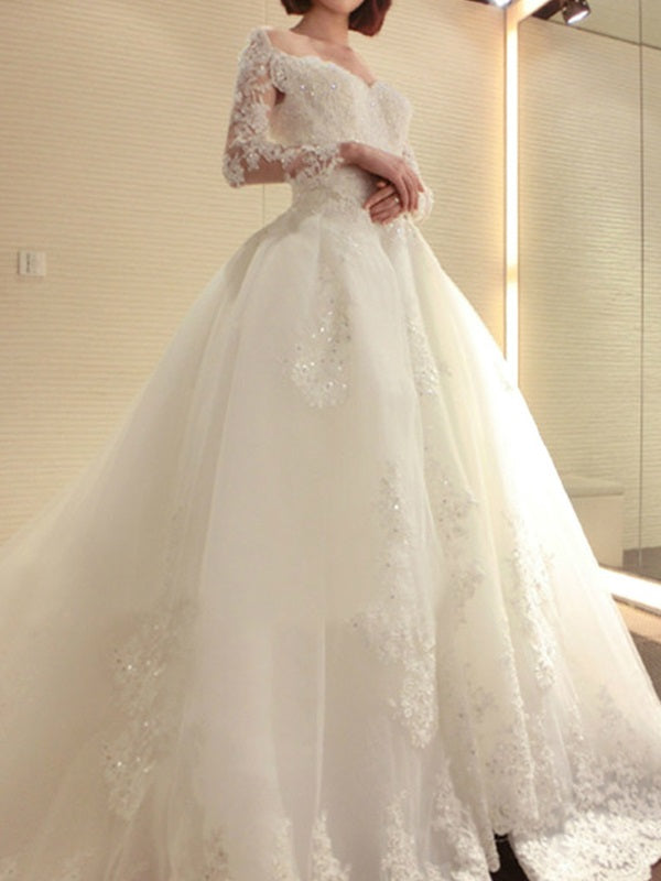 Beading A-Line Off-The-Shoulder Cathedral Church Wedding Dress