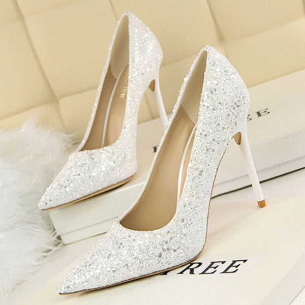 Pointed Toe Sequin Slip-On Stiletto Heel Low-Cut Upper Plain Thin Shoes