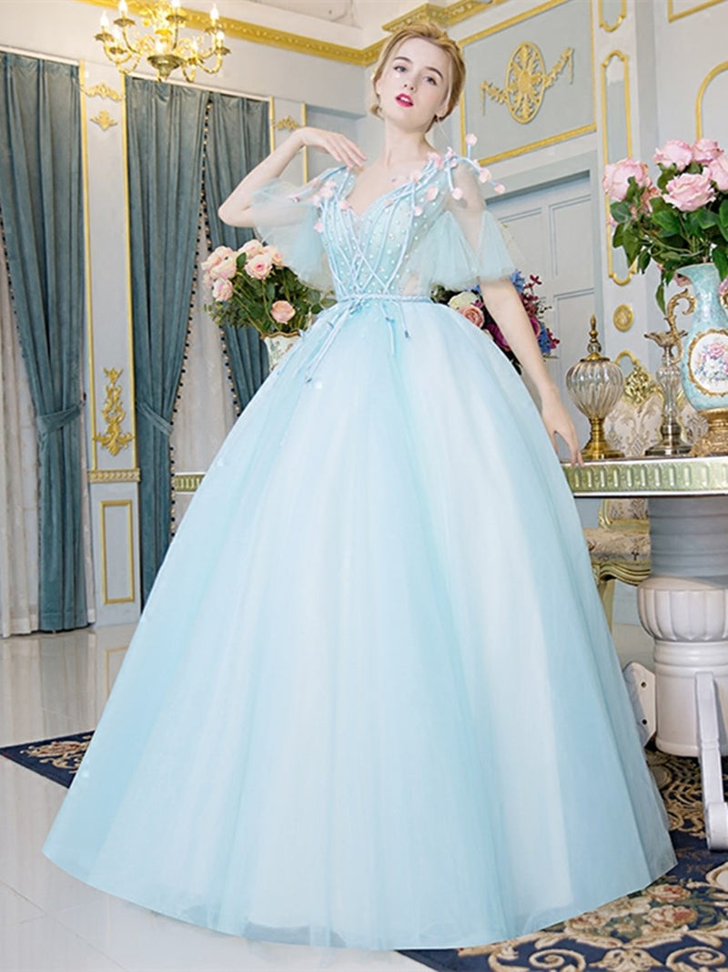 Short Sleeves Ball Gown Pearl V-Neck Quinceanera Dress