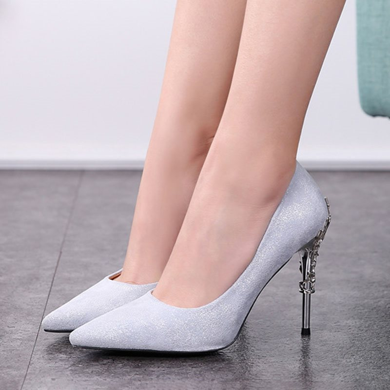 Stiletto Heel Pointed Toe Slip-On Casual Low-Cut Upper Thin Shoes