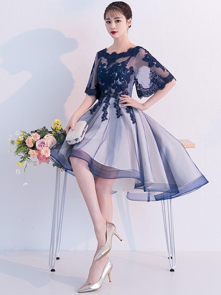 A-Line Lace Half Sleeves Asymmetry Wedding Party Dress