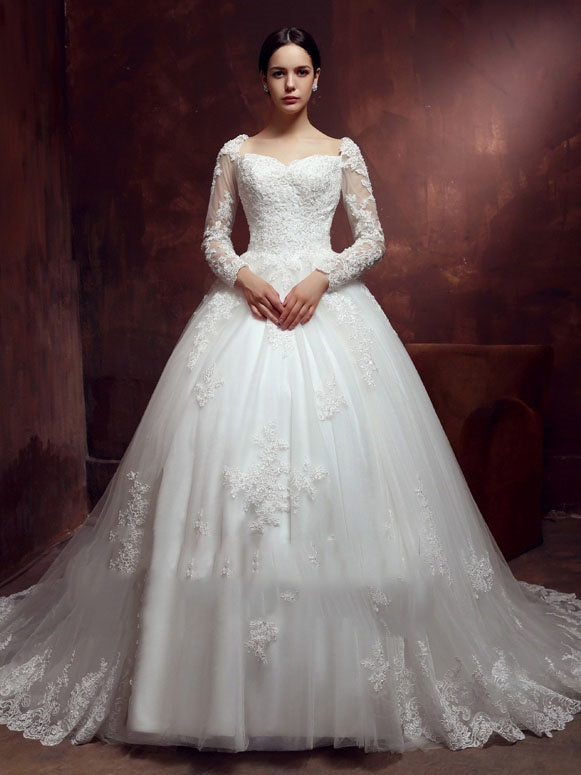 Appliques Long Sleeves Sweetheart Floor-Length Church Wedding Dress