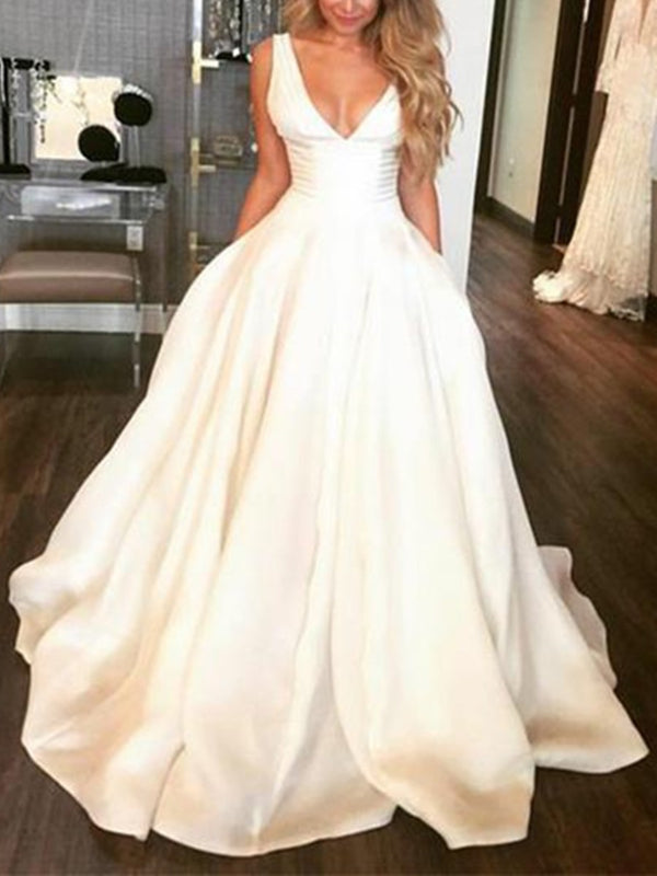 A-Line Sleeveless Ruched V-Neck Hall Wedding Dress