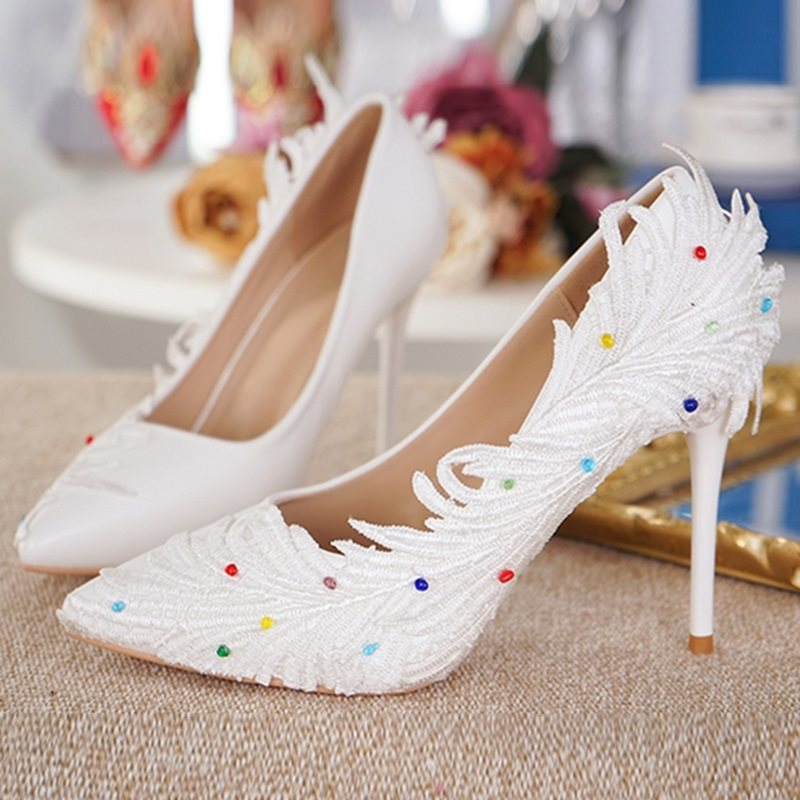 Pointed Toe Stiletto Heel Beads Slip-On Low-Cut Upper Casual Thin Shoes