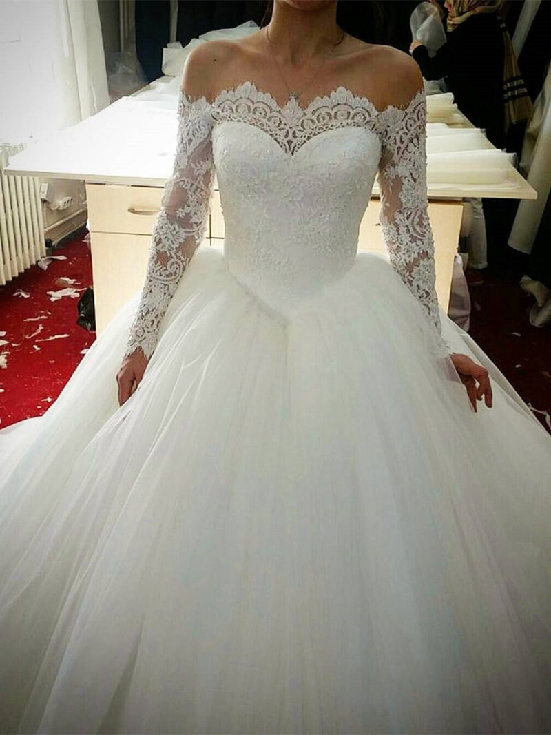 Sweep/Brush Floor-Length Ball Gown Long Sleeves Church Wedding Dress