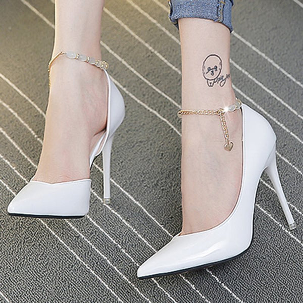 Stiletto Heel Pointed Toe Line-Style Buckle Chain 12cm Western Thin Shoes