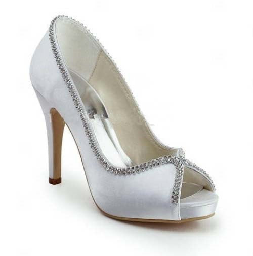Peep Toe Slip-On Rhinestone 10cm Thin Shoes