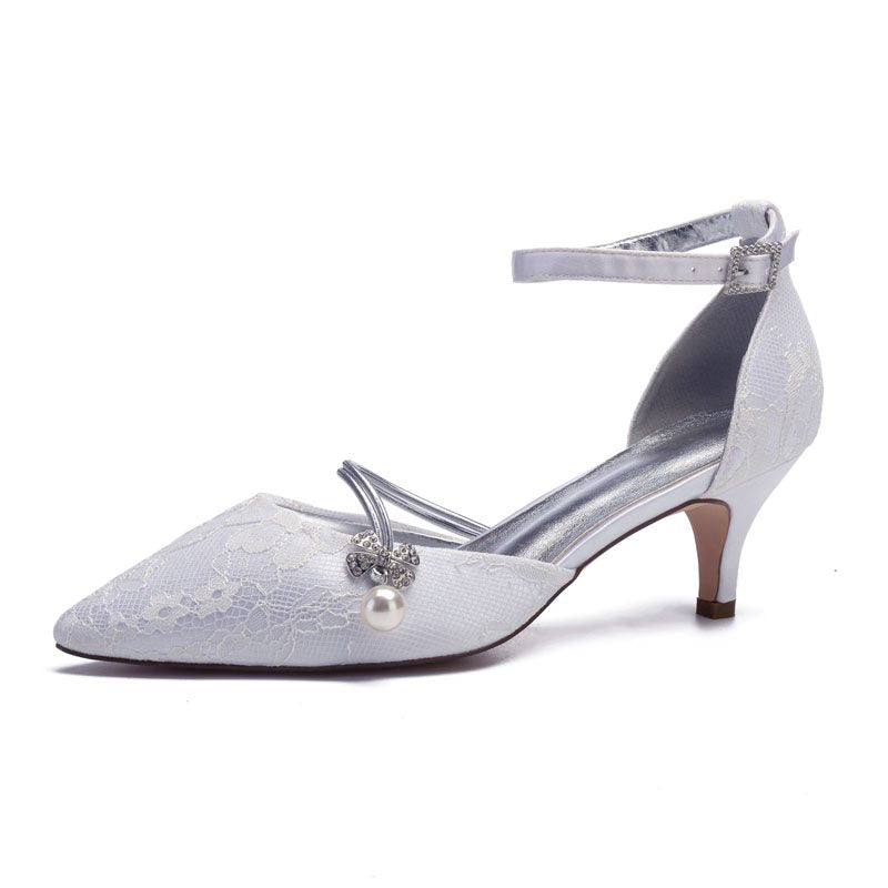 Line-Style Buckle Stiletto Heel Rhinestone Pointed Toe 6cm Wedding Thin Shoes