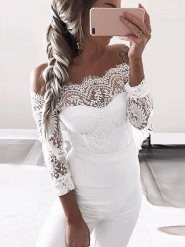 Long Sleeves Sheath/Column Off-The-Shoulder Lace Wedding Party Dress