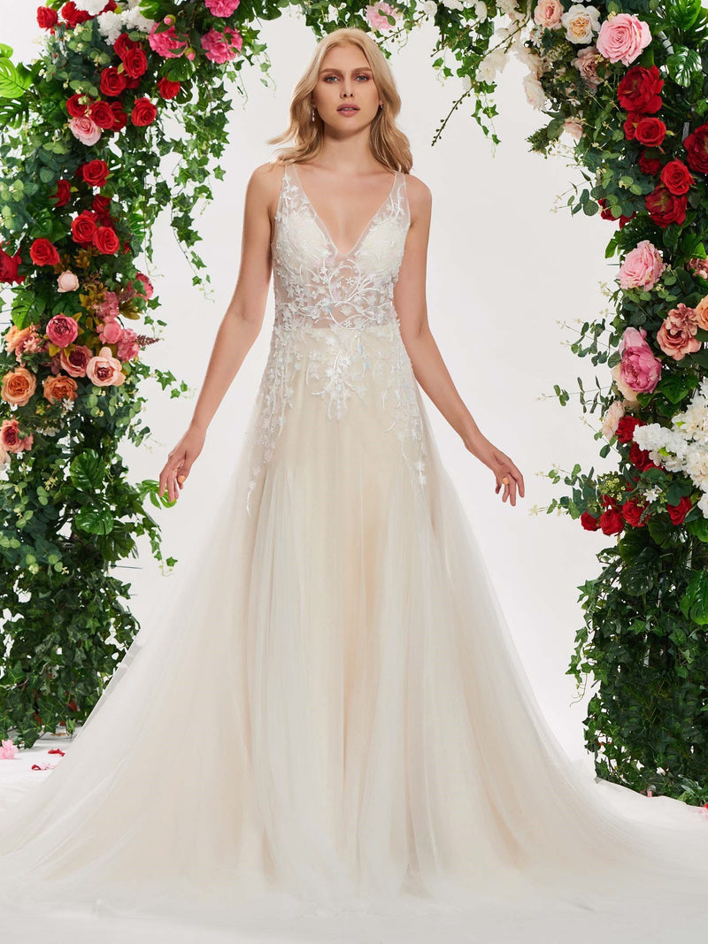 Chapel Floor-Length Button V-Neck Hall Wedding Dress