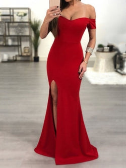 Short Sleeves Off-The-Shoulder Split-Front Trumpet/Mermaid Evening Dress