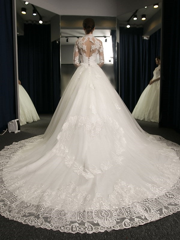 Cathedral Ball Gown Appliques Long Sleeves Hall Wedding Dress