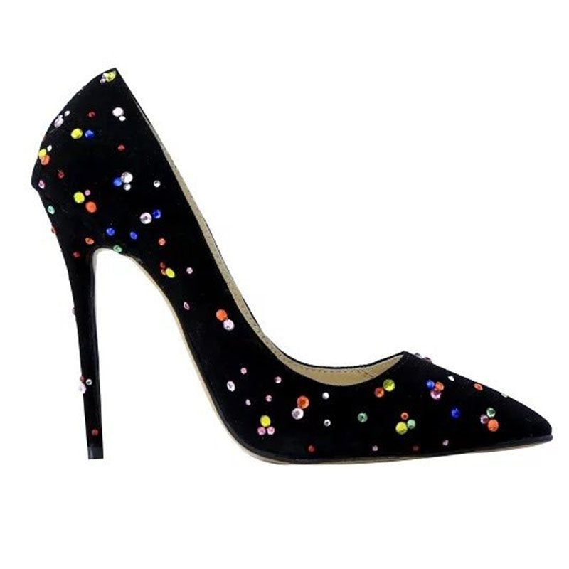 Pointed Toe Rhinestone Slip-On Stiletto Heel Low-Cut Upper Color Block Thin Shoes