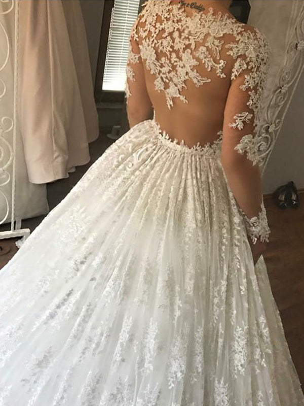 Long Sleeves Appliques Floor-Length V-Neck Hall Wedding Dress