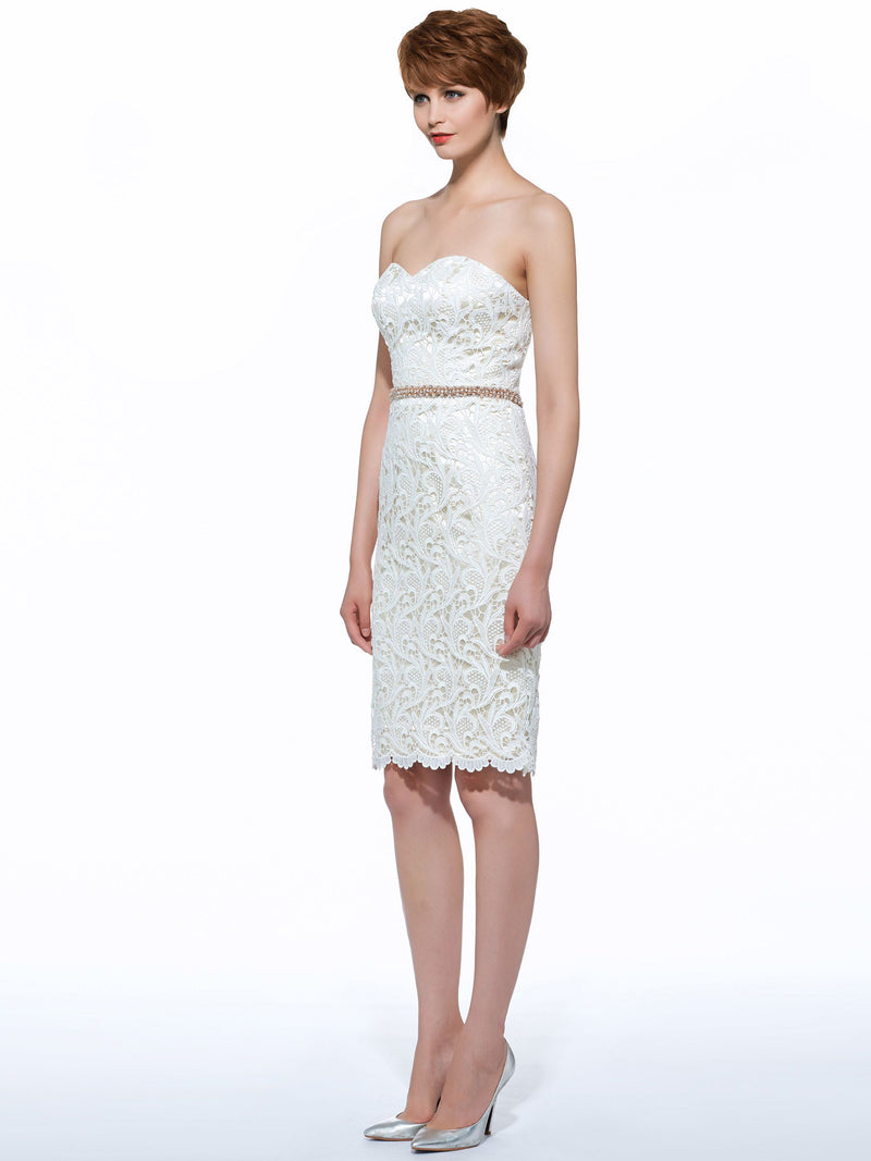 Sweetheart Beading Knee-Length Sheath/Column Formal Dress