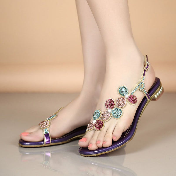 Thong Strappy T-Shaped Buckle Block Heel Low-Cut Upper Rhinestone Sandals