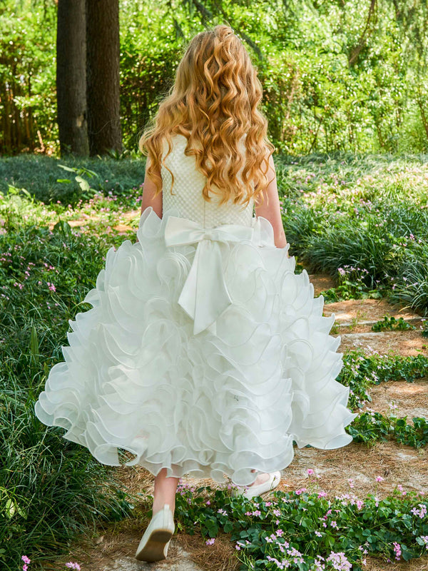 Ball Gown Tea-Length Scoop Fall Flower Girl Dress