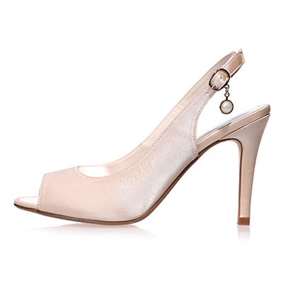 Beads Peep Toe Slip-On Stiletto Heel Plain Wedding Thin Shoes