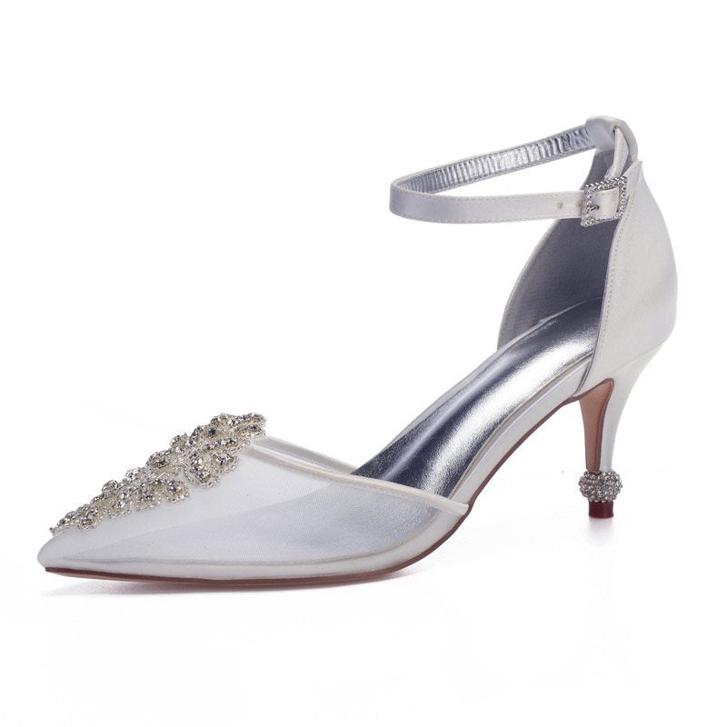 Rhinestone Pointed Toe Stiletto Heel Line-Style Buckle Plain Low-Cut Upper Thin Shoes