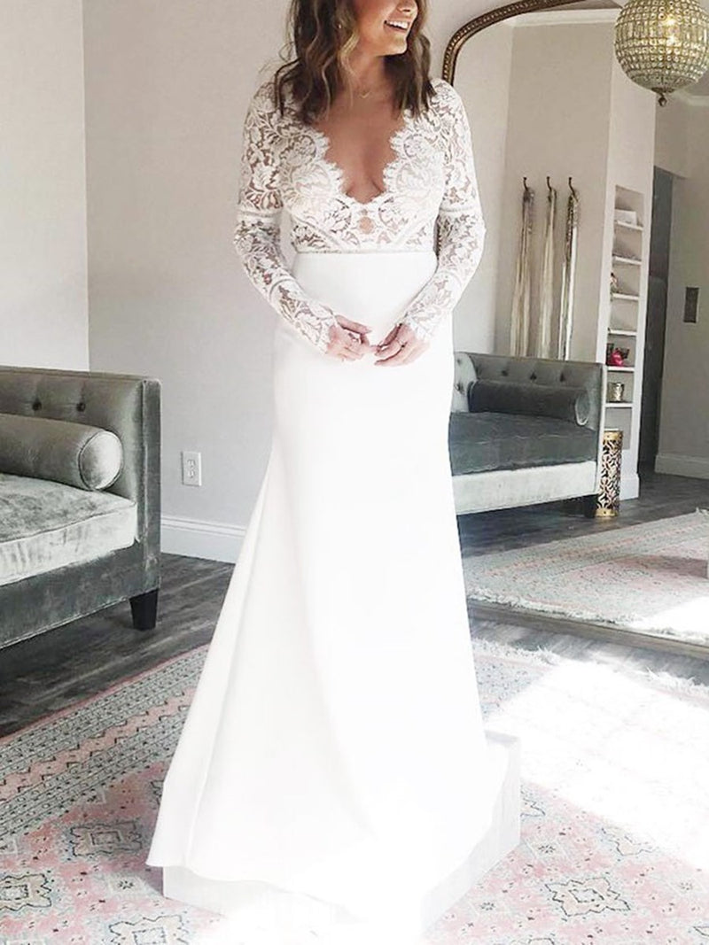 V-Neck Floor-Length Lace Trumpet/Mermaid Church Wedding Dress