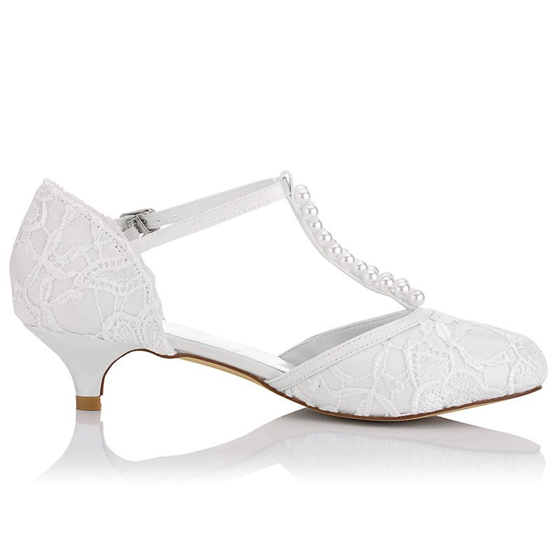Stiletto Heel T-Shaped Buckle Round Toe Lace Wedding 4cm Thin Shoes
