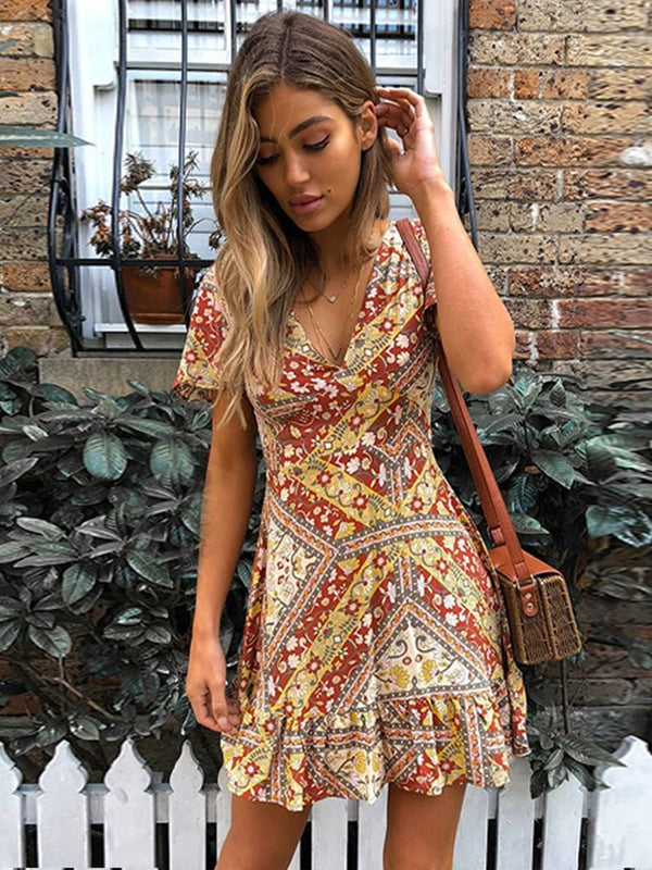 V-Neck Print Above Knee High Waist Floral Dress