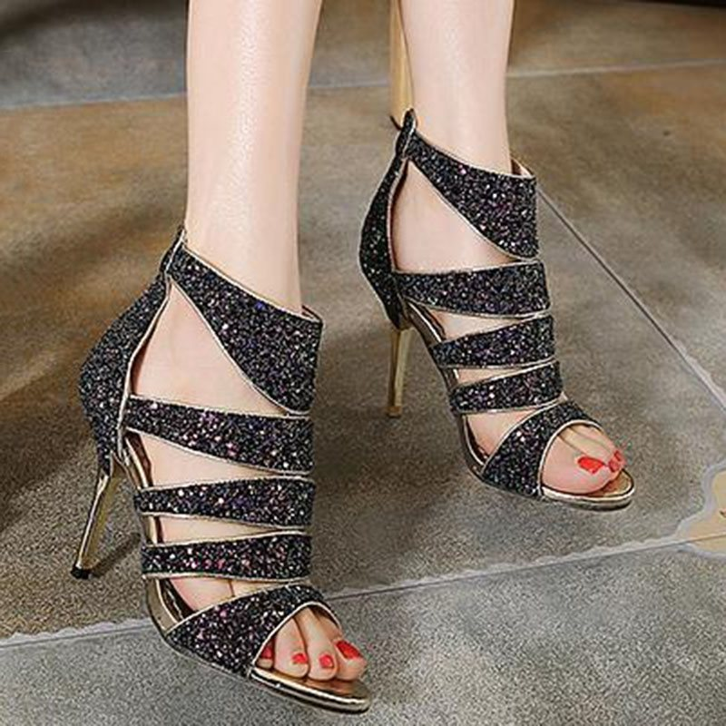 Open Toe Zipper Stiletto Heel Heel Covering Banquet High-Cut Upper Sandals