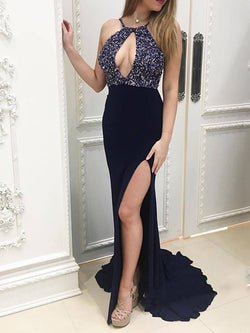 Sleeveless Floor-Length Court Sheath/Column Formal Dress