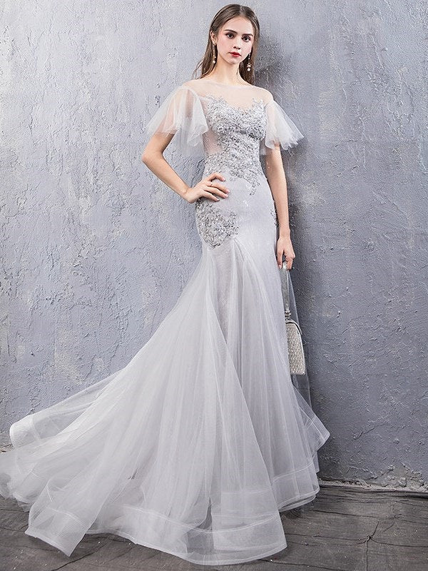 Scoop Appliques Floor-Length Trumpet/Mermaid Evening Dress